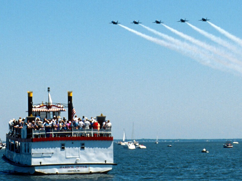 Watching the Blue Angels from Harbor Queen