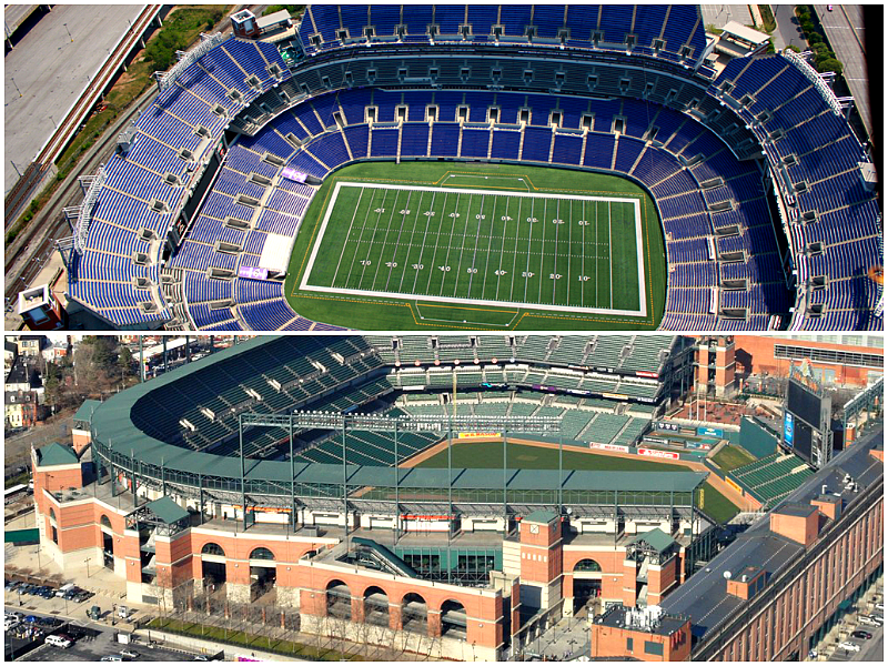 See Orioles and Raven's Stadiums from the Air